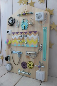 Montessori Activity Board Toddler Latch Board Busy Board Baby Toddler Preschool Sensory Activities Baby 1 st Birthday - Scandinavian Collection🌲🌲🌲 Unique baby toys Busy Board HappyHome on Etsy, the world market - Montessori Activities, Montessori Baby, Infant Activities, Activities For Kids, Montessori Bedroom, Birthday Activities, Baby Room Activities, Preschool Birthday, Montessori Classroom