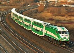 GO Transit. Ontario Canada inter-regional commuter transit system, linking Toronto to the greater Toronto area and beyond. Bi-Level coaches built by Bombardier Trans.and pulled by a Motive Power, Inc. Diesel Locomotive, Steam Locomotive, Train Car, Train Tracks, Ontario, Go Transit, Rail Transport, Public Transport, Commuter Train