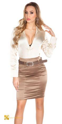Csíkos elegáns szoknya övvel magas derékkal 5 színben (S,M,L,XL) High Waisted Pencil Skirt, Pencil Skirts, Satin Skirt, Satin Dresses, Hot Outfits, Skirt Outfits, Sexy Skirt, Dress Skirt, Cute Skirts