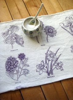 Screen Printed Organic Cotton Spring Flowers Flour Sack Tea Towel - Soft and Absorbent Dish Towel. $10.00, via Etsy.