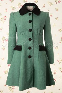 Banned - 50s Elegant Black and Mint Winter Coat  w/peter pan colar and button placket with black fabric buttons. Made from warm wool/boucle mix in heathered mint with black satin lining with platful bow in back. $119.95
