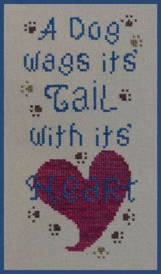 A Dog Wags Its Tail is the title of this cross stitch pattern from The Stitchworks.