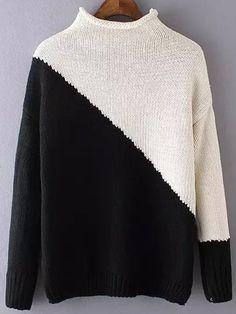 Negozio Maglione con collo alto blocchi di colore on-line. SheIn offre Maglione con collo alto blocchi di colore & di più per soddisfare le vostre esigenze di moda.
