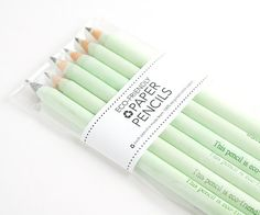 6 Pack of Mint Eco-Friendly Recycled Paper Pencils - made from 100% recycled paper. $7.50, via Etsy.