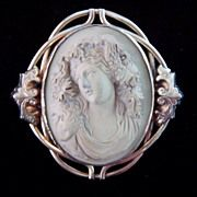 Beautiful Antique Victorian Huge Mythological Carved Lava Cameo Brooch of a Bacchante
