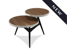Check out our NEW Vista Table!  The stationary walnut veneer tops are cradled by a dazzling champagne-plated ring Slim structural metal base support - See more at: http://www.modernsensefurniture.com/product_info.php/products_id/9970#sthash.pXQuBJLF.dpuf