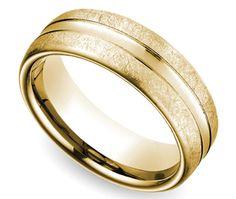 Convex Swirl Men's Wedding Ring in Yellow Gold