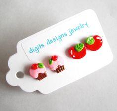 Orecchini Cupcake e ciliegie a mano polimero argilla pulsante post trapassato orecchini (4)
