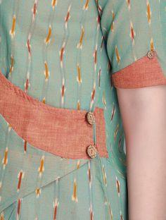 Green-Orange Ikat Cotton Cross Over Kurta by Indian August Salwar Neck Designs, New Kurti Designs, Kurta Neck Design, Neck Designs For Suits, Sleeves Designs For Dresses, Kurta Designs Women, Kurti Designs Party Wear, Sleeve Designs, Blouse Designs