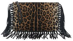 Valentino Calf Hair Fringe Clutch Bag, Leopard on shopstyle.com