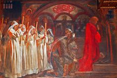 Edwin Austin Abbey: The Quest for the Holy Grail, Part 2 - Sir Lancelot and Sir Bors outfit Galahad with his spurs Mists Of Avalon, Green Knight, Boston Public Library, Pre Raphaelite, Traditional Paintings, Art Graphique, Painting & Drawing, Illustrators, Book Art