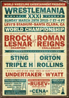 Very cool, fan-made, old-time wrestling poster for @WrestleMania this Sunday.  #WM31