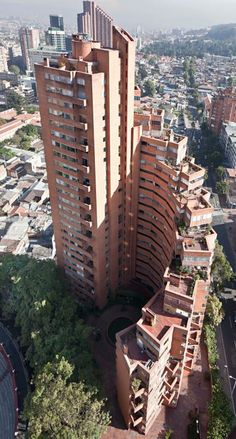 Bird's-eye view of  Tower C. Late Colombian architect Rogelio Salmona's striking Park Towers in Bogotá.
