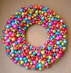 All those clearance Christmas balls? Next year Im getting them to make this sweet ball wreath.  Birthday party as a centerpiece?
