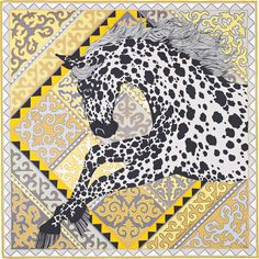 "36"" x 36"" scarf Hermès | Appaloosa des Steppes by Alice Shirley SS 2017"