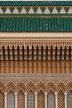 detail of Royal Palace   Fes, Morocco. This is remarkable just due to the repetition and rhythm, also the colors.