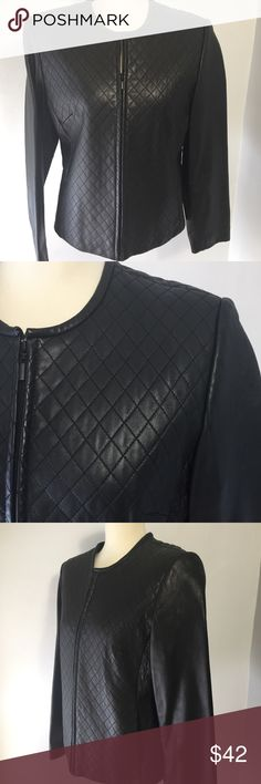 "Lord and Taylor Quilted Black Leather Jacket Love the subtle detail of the quilted diamond pattern on this jacket. Simple yet interesting. Pair it with your favorite skirt or jeans.  In brand new condition.  20 1/2 p2p. 21"" long. Lord & Taylor Jackets & Coats"