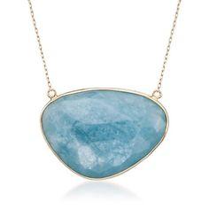 Milky Aquamarine Bezel Necklace in 14kt Yellow Gold