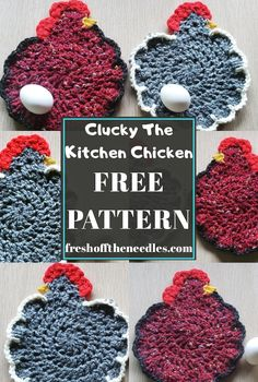 crochet potholder patterns Clucky is a fast, easy, and adorable project that beginner croch Crochet Hot Pads, Free Crochet, Crochet Top, Easy Crochet, Crochet Potholder Patterns, Crochet Dishcloths, Crochet Projects, Sewing Projects, Crochet Tutorials