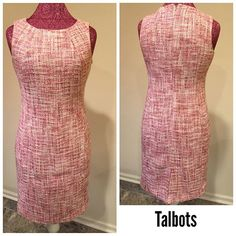 Talbots Petites  Size ~ 4P Material  Shell ~ 92% cotton, 8% viscose Lining ~ 100% polyester  Shoulders ~ 13 Arm ~ sleeveless  Chest ~ 15.5 Waist ~ 14.5 Hips ~ 18.5 Length ~ 35.5 Split ~ back 8 Hidden back zipper  Hook & eye Pink White $25