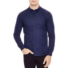 Sandro Micro Herringbone Slim Fit Button-Down Shirt ($118) ❤ liked on Polyvore featuring men's fashion, men's clothing, men's shirts, men's casual shirts, navy blue, mens slim fit shirts, mens button up shirts, mens casual button up shirts, mens slim fit button up shirts and mens navy blue shirt