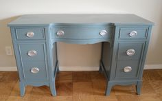 Antique dressing table / vanity turned great desk. An auction find!