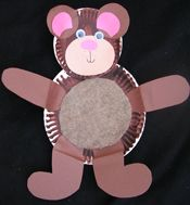 My pin! You will need a paper plate, brown and pink construction paper, and googley eyes. The objective is for the kids to identify the parts of a bear and where they go.