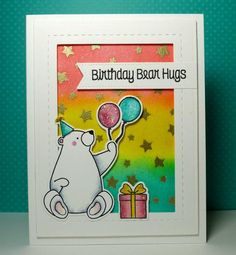 Birthday Bears: My Favorite Things, gold embossing, sponging, copics, critter sketch by beesmom - Cards and Paper Crafts at Splitcoaststampers