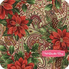 Christmas Peace Multi Poinsettia Yardage SKU# 35439MB-X
