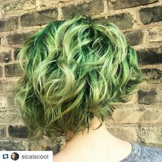 www.foxdensalon.com - #Repost @sicaiscool  Asymmetrical minty green ombre... Hello.  #ombre #nofilterneeded #greenhair #curls #foxdensalon #fiidnt #wickedfiidnt #shorthairdontcare #minneapolis #twintownhair #612haircrew #hairstylist #dyedgirls #dyeddollies #pinterest #hair #peacockhair #hashtag #pinteresthair #mermaid #hairaddict #joico #joicointensity #vivids #hairtransformation #professionalstylist #americansalon #modernsalon