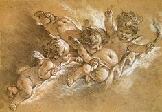 François Boucher - Three putti in clouds