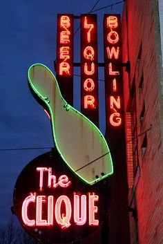 The Clique Bowling Alley neon sign IMG_7496 by stevendepolo, via Flickr
