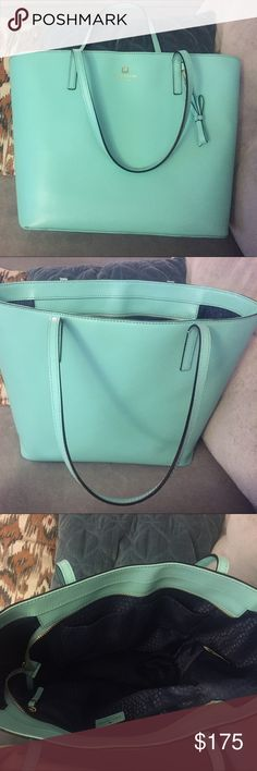 Robin's Egg Blue Kate Spade Leather Tote Bag Great condition bag! Very minor wear on bottom corners as pictures, honestly is not noticeable as this part is underneath bag. kate spade Bags Totes