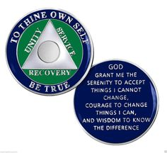 Seattle Team Colors Circle Triangle AA 12 Step Recovery Medallion/Coin  PLEASE NOTE: Not Available in Years  This is a handsome circle triangle triplate with rich enameling in  Seattle team colors of royal blue and green with matte and shiny silver finish.   The Serenity Prayer is on the reverse side in solid enameling with raised silver lettering.