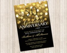 Golden Wedding Anniversary Invitation in gold glitter and black by PureDesignGraphics on Etsy 50th Wedding Anniversary Decorations, 50th Anniversary Invitations, Golden Wedding Anniversary, Anniversary Parties, Anniversary Ideas, 25th Anniversary, Boyfriend Anniversary Gifts, Digital Invitations, Gold Glitter