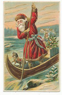 vintage European postcard Santa Claus