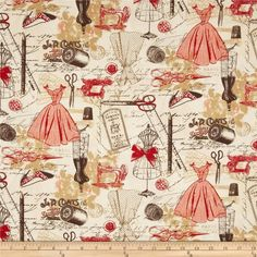 Timeless Treasures Vintage Sewing Red from @fabricdotcom  Designed for Timeless Treasures, this cotton print fabric is perfect for quilting, apparel and home decor accents. Colors include red, white, chocolate, and tan.