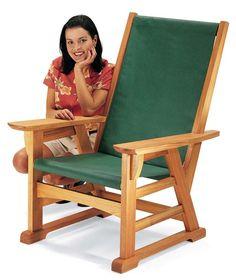 um projeto legal de uma cadeira/poltrona de preguiça, igual ao desenho abaixo, muitas dicas de marcenaria e jigs utilizados na construção:. ...