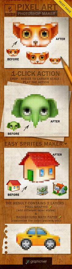 Pixel Art Creator Photoshop Action - GraphicRiver Item for Sale