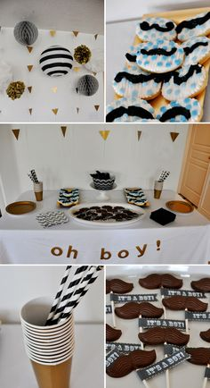 Oh Boy! Baby Shower | Love the  modern gold, black and white color scheme!