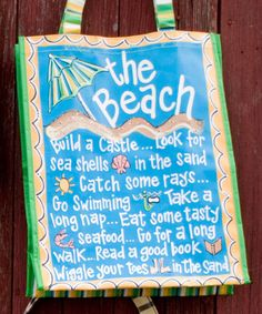 """The Beach Tote by Glory Haus features """"a few of my favorite Beach things"""" in center on brown background with Gold border and colorful dots & circles. Outsider Art, Beach Quotes, Beach Sayings, Ocean Quotes, Cottage Signs, Ocean Sounds, I Love The Beach, Making Waves, Building A Deck"""