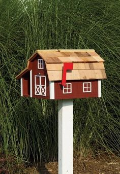 Amish Handmade Barn or City Mailbox Paperbox Combo - Prim and Country Bird and Butterfly Houses Wooden Mailbox, Diy Mailbox, Rural Mailbox Ideas, Mailbox Garden, Vintage Mailbox, Home Mailboxes, Unique Mailboxes, Rustic Mailboxes, Country Mailbox