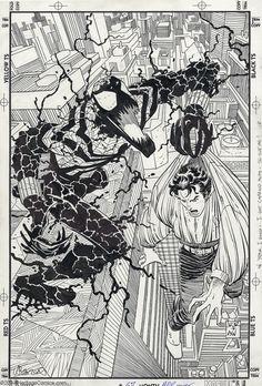 Spider-Man and Ben Reilly Carnage, original cover art to Spider-Man Comic Book Artists, Comic Books Art, Ben Reilly, Comic Book Drawing, Spiderman Coloring, John Romita Jr, Jr Art, Marvel Art, Marvel Comics