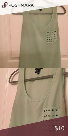 Tank top with studded pocket tag says medium but fits like a medium/large Tops Tank Tops