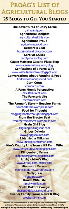 ProAg's List of Agricultural Blogs: 25 Blogs to Get You Started Infographic