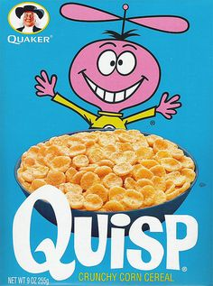 Remember this cereal? Quisp by Quaker. This was my FAVORITE growing up! Retro Recipes, Vintage Recipes, Childhood Toys, Childhood Memories, School Memories, Quisp Cereal, Ed Vedder, Best Cereal, Breakfast Cereal
