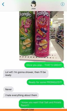 Hilarious Text About Prongles vs. Shower