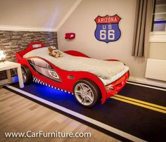 Our street carpet is also great touch in a car-themed bedroom with a car bed! Boys Bedroom Colors, Kids Bedroom Boys, Boys Bedroom Decor, Bedroom Themes, Boy Room, Car Bedroom Ideas For Boys, Kids Rooms, Car Themed Rooms, Race Car Bedroom