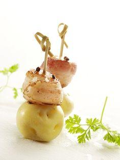 Saté van aardappel, coquille en spek - Lekker van bij ons !
