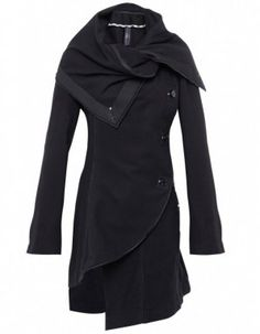 swoon. ASYMMETRIC SHAWL COLLAR HIGH COAT